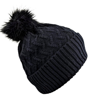 Pom-Pom Hat High Quality Black Color
