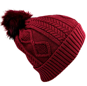 Pom-Pom Hat Red Color
