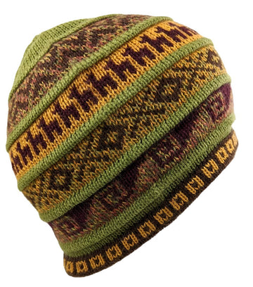 Alpaca Beanie Green Color  Hat