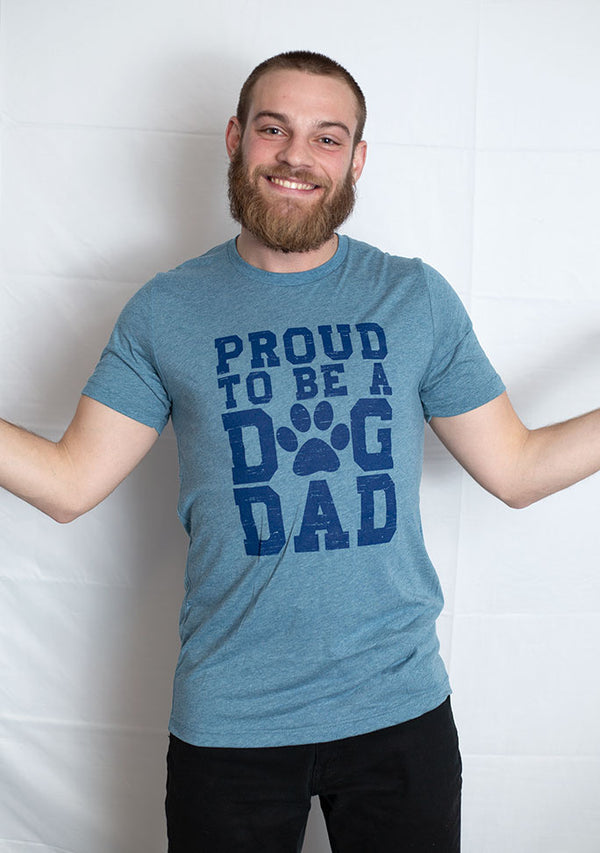 Proud to Be a Dog Dad Short Sleeve Tee Shirt - Denim Triblend