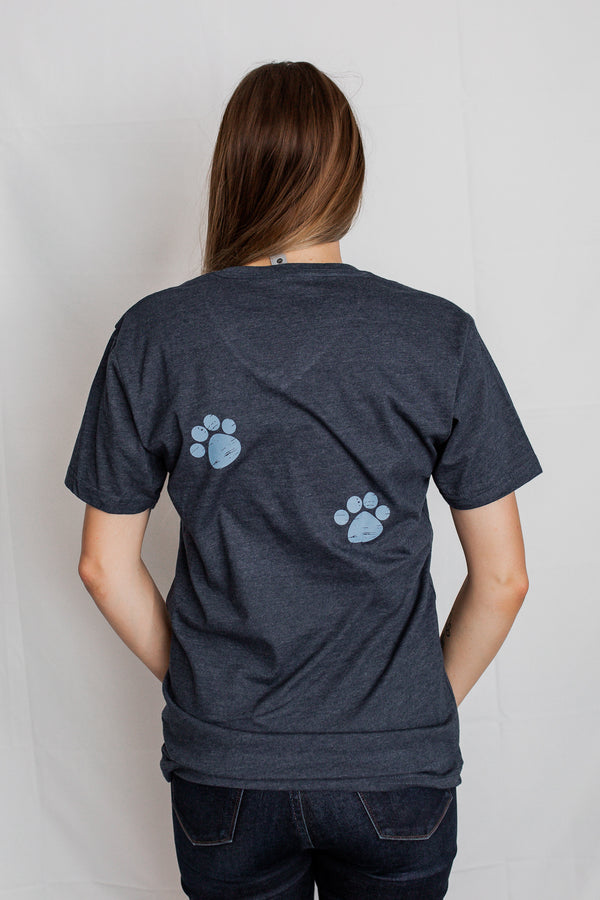 Paw prints on back of DOG MOM Midnight Navy tee.