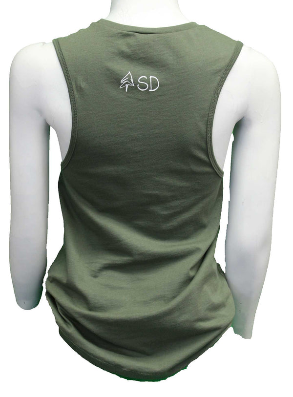 Happy Camper South Dakota; Tank-Military Green - Scratchpad Tees