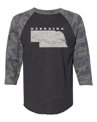 Hometown Nebraska - Baseball Tee - Adult