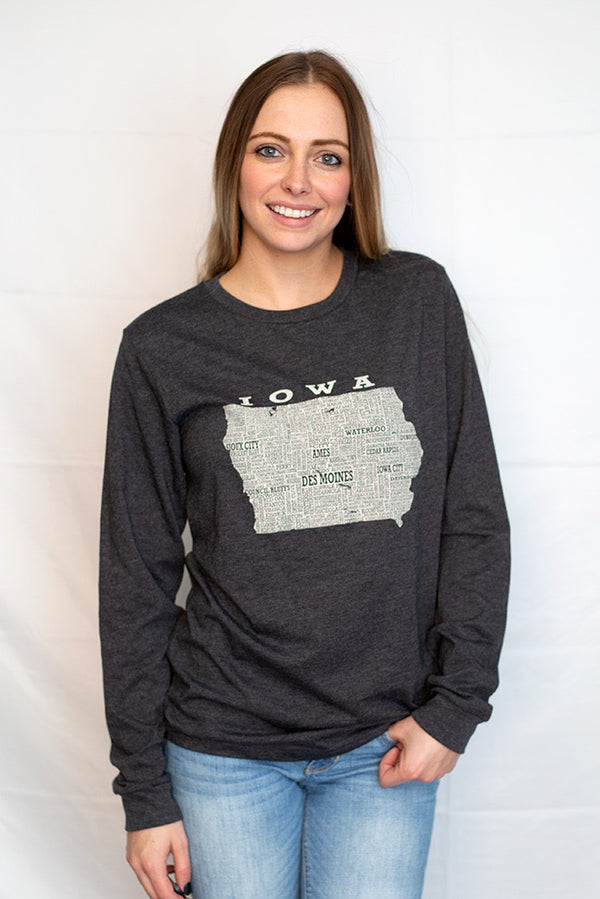 Hometown Iowa Long Sleeved Tee - Scratchpad Tees