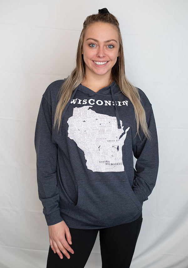 A Heather Navy lightweight hooded french terry sweatshirt. A graphic of Wisconsin state and it's cities are on the shirt front.