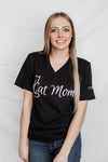 A unisex Black V-neck tee with a cute Cat Mom graphic in white ink.
