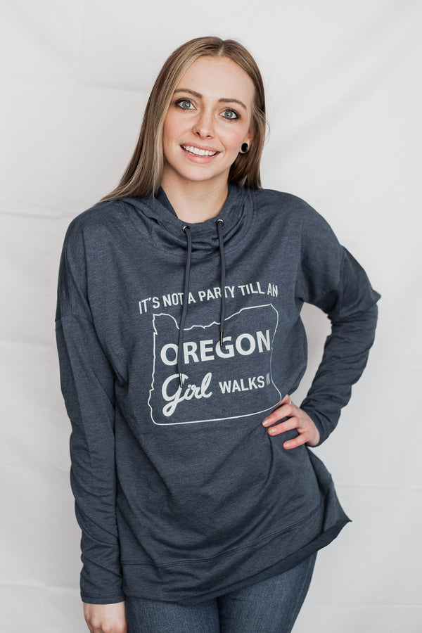 It's Not A Party Oregon Girl - Featherweight Sweatshirt; Indigo