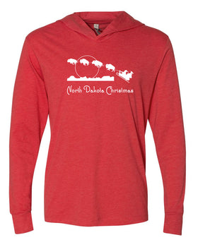 North Dakota Christmas; Long Sleeved Hoodie