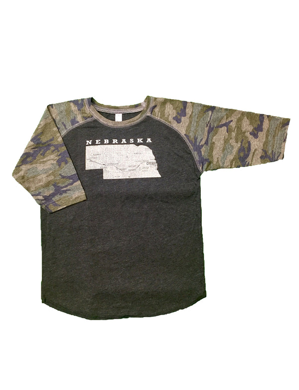 A Camo sleeved Youth baseball tee with a graphic of Nebraska and it's cities on it.