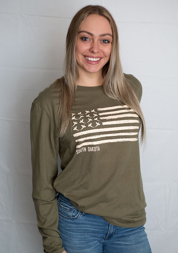 South Dakota Pheasant Flag; Long Sleeve-Military Green