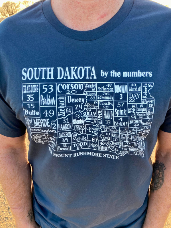 South Dakota Historical Counties Tee Shirt - Steel Blue
