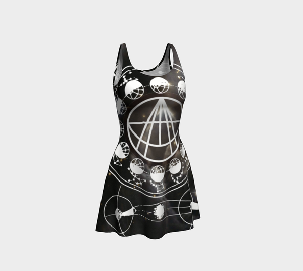 Black Galaxy Sigil Logo Flare Dress