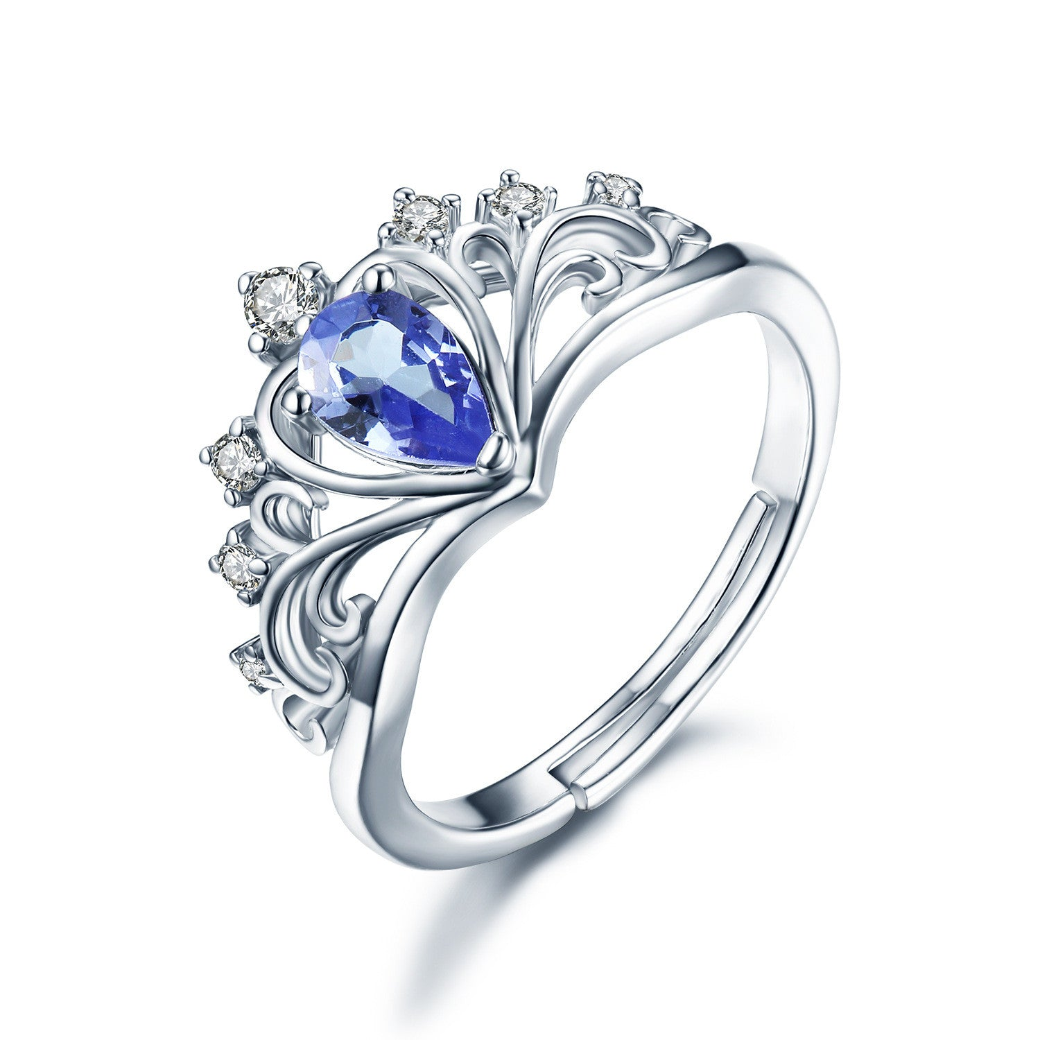0 35ct Natural Tanzanite December Birthstone Crown Ring