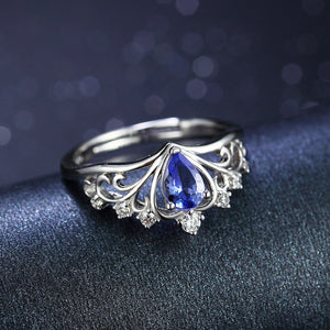 0.35ct Natural Tanzanite December Birthstone Crown Ring
