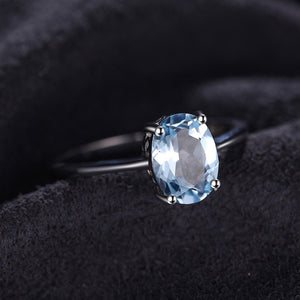 1.5ct Natural Sky Blue Topaz March Birthstone Solitaire Ring