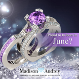 5A Cz Alexandrite (June) Birthstone Interchangeable Ring set