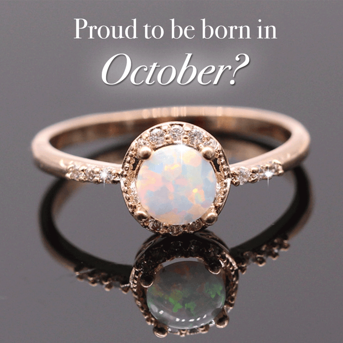 Gold October Opal Birthstone Ring