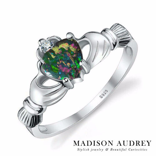 Blue Black Fire Opal Irish Claddagh Ring