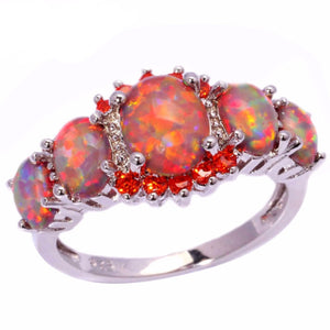 January Birthstone Orange Fire Opal Garnet Ring