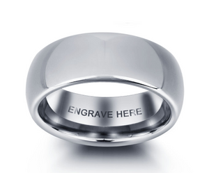 Mens Classic Black Tungsten Ring with Complimentary Engraving