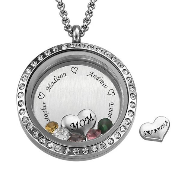 Engraved Floating Locket Necklace With Charms And Birthstones Encased