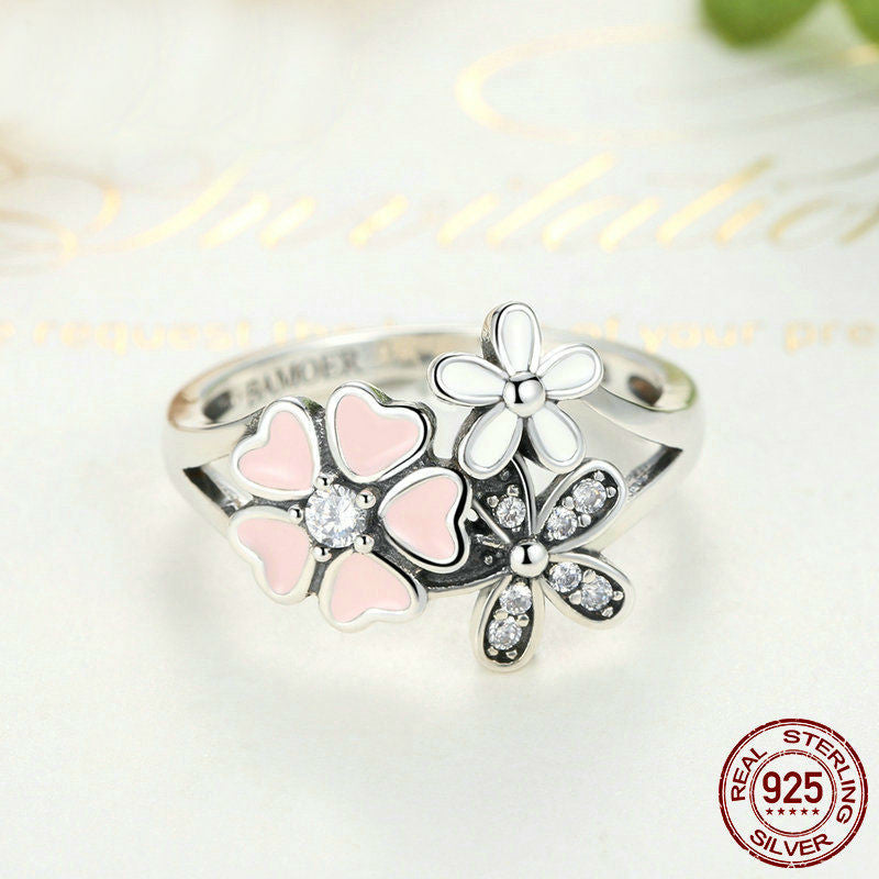 925 Sterling Silver Pink Flower Daisy Ring