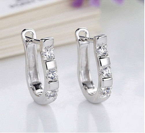 Sterling-silver Diamond Harp Studs Horse Shoe Earrings