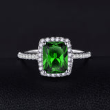 3.0Ct Natural Emerald S925 Sterling Silver Infinity Ring