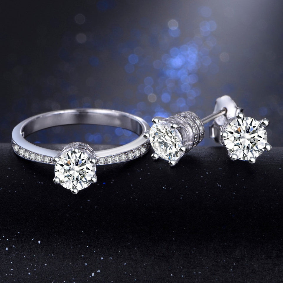 Exquisite Jewelry Sets for Brides 925 Sterling Silver rings 5A Zircon CZ Engagement Stud Earrings