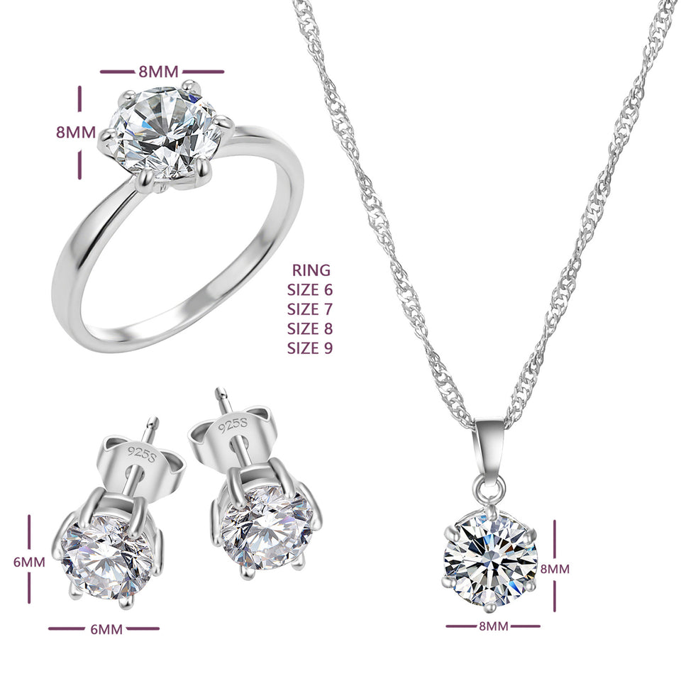 Exquisite Jewelry Sets CZ Statement Necklace & Earrings & Rings