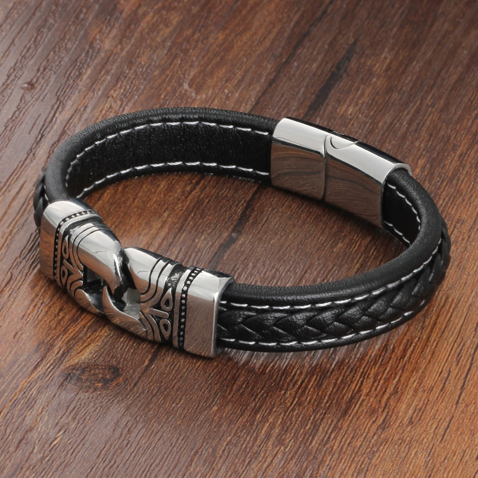 Genuine Leather Ancient Lock Stainless Steel Men Bracelet
