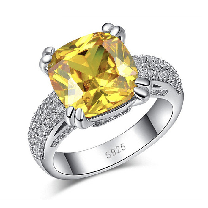 Sterling Silver November Birthstone Ring Luxury 4 Carat Citrine Stone