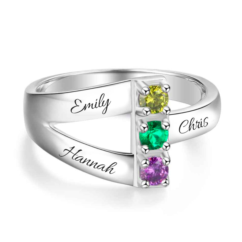 Triplicate Family & Love Birthstone Ring
