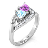 Twin Heart Swooping Diamond Accent Ring
