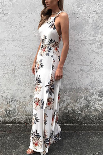 Sleeveless Side Split Back Lace-up Floral Print Dress