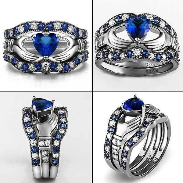 Exquisite Blue Diamond Claddagh Ring Set Madison Audrey