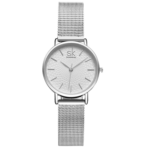 SK Lux Slim Sliver Mesh Stainless Steel Watch