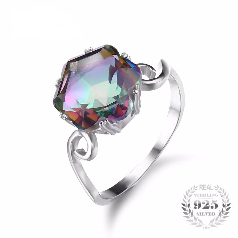 woman emerald wedding mystic rings sterling for leige engagement item ring cut rainbow jewelry sliver topaz