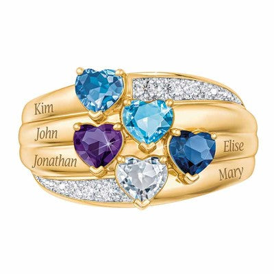 5 Precious Heart Gems with Diamond Accent Stones