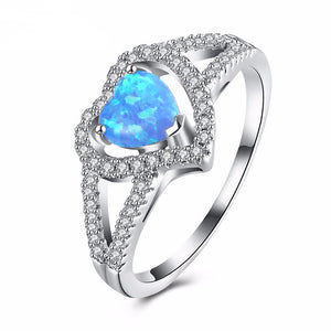 October Blue Fire Opal Heart Ring - White Gold