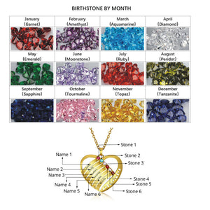 Love Mom Beautiful 6 Birthstone Name Necklace