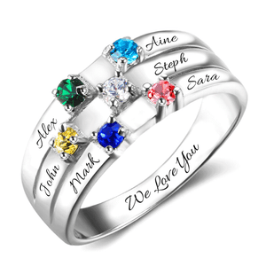 6 Gemstones Friendship & Family Ring