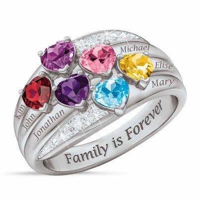 6 Heart Family Birthstone Ring