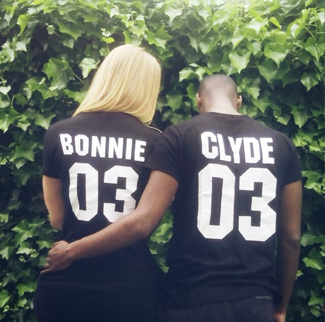 Bonnie & Clyde Partners In Crime Couples T-shirts