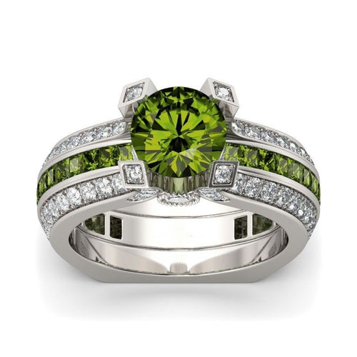 August (Olive Peridot) Birthstone Ring Set