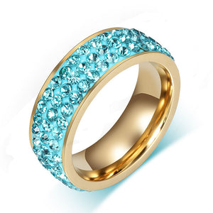 Full Paved Aquamarine Crystal March Birthstone Ring
