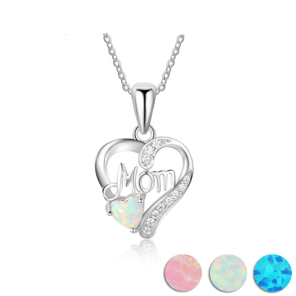 Mom's Heart Opal Necklace