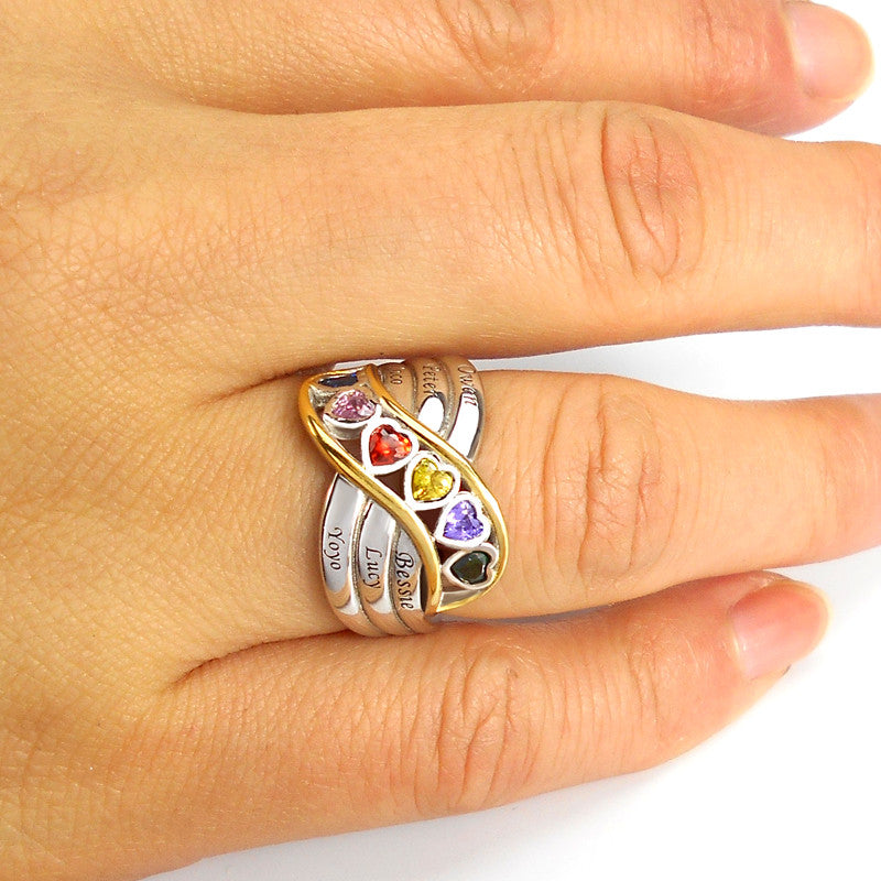 Multi-Wave Family Heart Ring (6+ Birthstones)