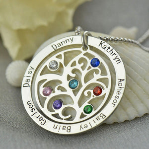 Family Tree Personalized Family Tree Necklace x7 Birthstones