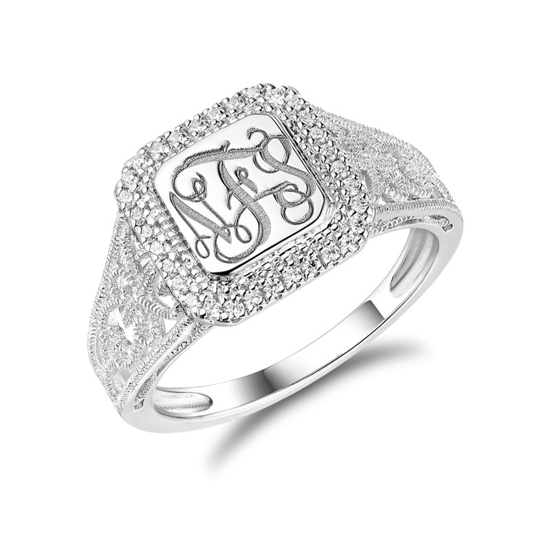 Pure Sterling Silver Classic Monogram Ring